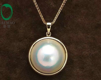 Free shipping 14k Yellow gold 15mm Round White Mabe Pearl Pendant For Anniverary