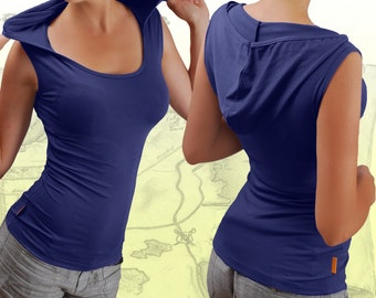 Eco-friendly, Hooded top, sleeveless top, yoga fitness top, tribal top, activewear top