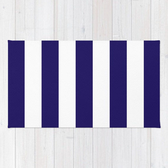 Stripes Area Rug Navy Blue And White Nautical By Aldarihome