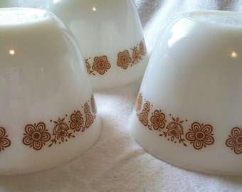 Vintage PYREX Tea Cups, Butterfly Gold