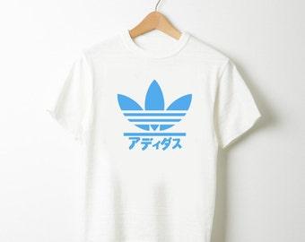 Adidas Japan Fan Made Logo Black Burgundy or Blue T-shirt white S to XL