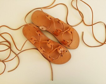 Men Sandals - Lace Up Brown Leather Sandals Flat With Brown Leather Lace