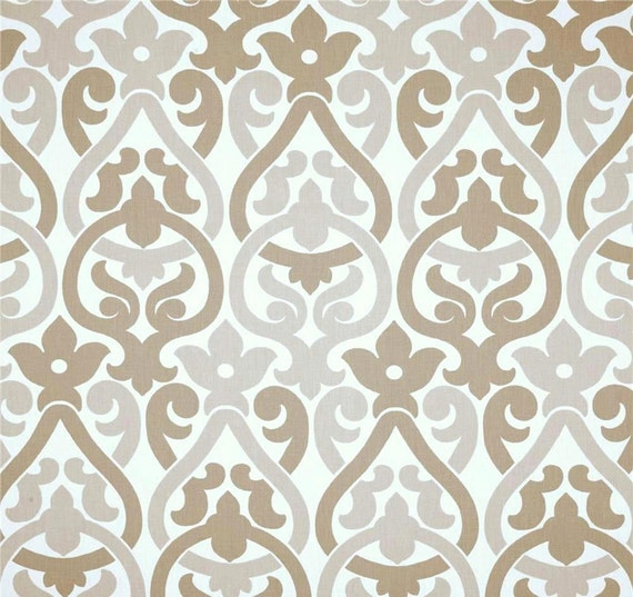 Contemporary Fabric Taupe Tan Grey Designer Drapery or