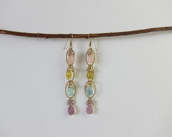 Multi Colored Chalcedony 14K Gold Filled Handmade Drop Earrings