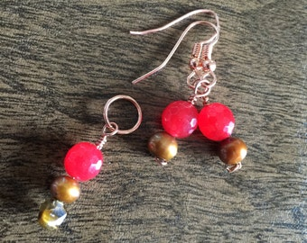 8mm RUBY pearl pendant and earring set