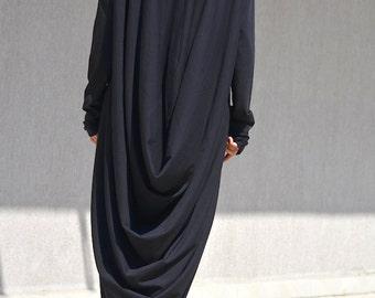 maxi dress, Plus Size dress, Maternity, plus size clothing, Casual dress, black dress, draped dress, black maxi dress, oversized maxi dress