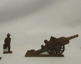 Military Figurines, Cast Iron, Five Piece Set, WW1 Era