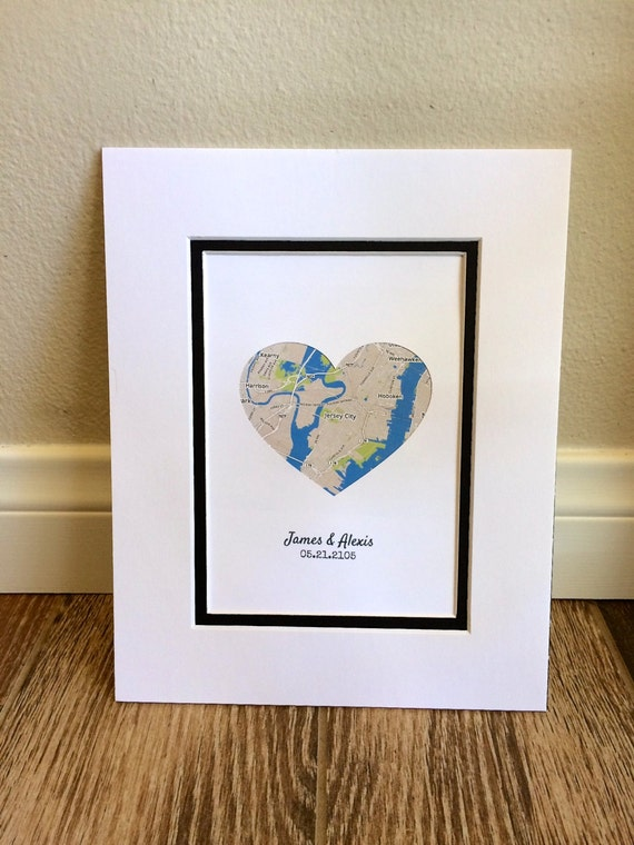 Map Art Wedding Gift : Map Art- First Anniversary or Wedding Gift- Map Heart- One Year Paper ...