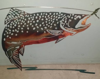 """Rainbow trout taking a fly, """"MADE TO ORDER"""""""