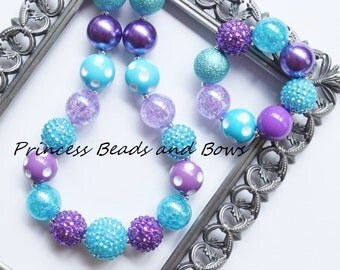 Shades of Purple and Turquoise Chunky Necklace and Bracelet Set,  Princess Necklace, Little Girls, Girls, Ready to Ship!