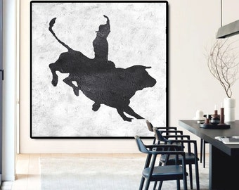 Large Abstract Painting Canvas Art, Painting On Canvas, Bullfight Art.
