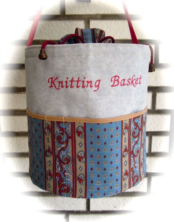 Knitting bag, handmade bag, handmade basket, knitting basket