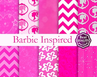 "Hot Pink digital papers *  Palette inspired by ""Barbie"" * Card making Scrapbook paper * Printable, Instant Download"