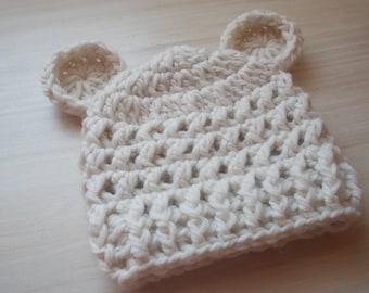 Newborn Teddy bear hat , crochet newborn hat , cream Teddy bear hat , cream newborn hat , newborn hat with ears , newborn hat