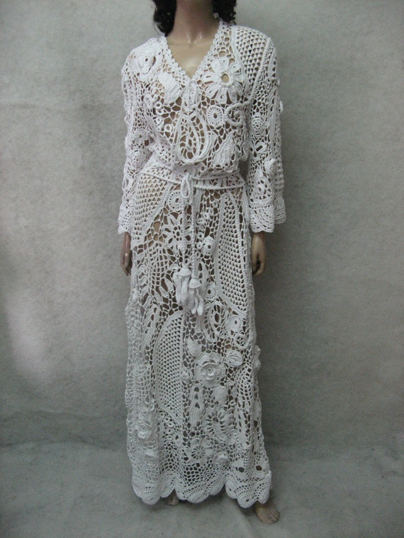 Wedding handmade maxi dress crochet white irish lace dress for Crochet lace wedding dress pattern