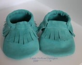 LIMITED STOCK Teal Genuine Suede Leather Baby Shoe
