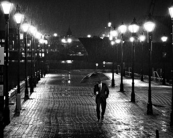 Man With Umbrella - Photographic Print