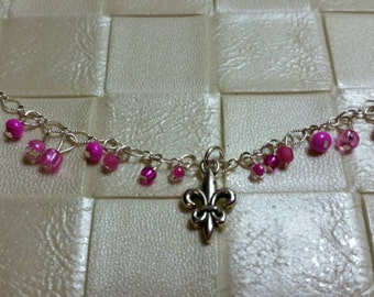 Fleur de lis anklet, charm anklet, silver chain, pink anklet, ankle bracelet, flower charm anklet, pink and silver anklet