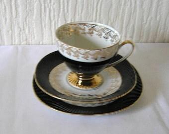 "Vintage Chodziez Poland "" black Harlequin"" Trio Cup Saucer And Sideplate"