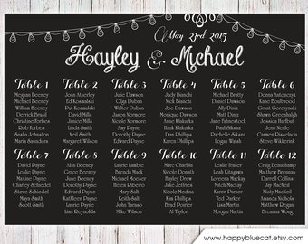 Wedding Seating Chart -RUSH SERVICE- Chalkboard String Lights Bulb Theme Wedding Seating Chart Reception Poster-Digital Printable File HBC11