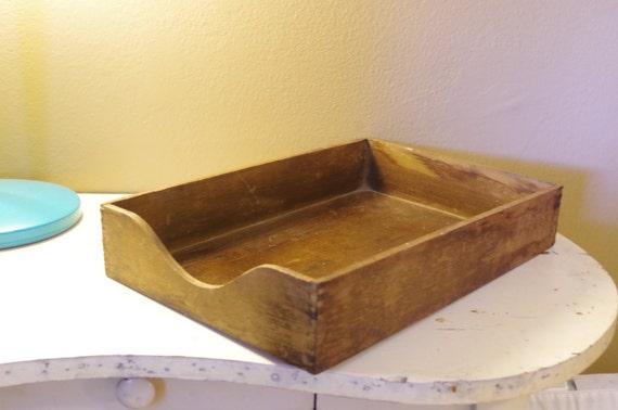 vintage wooden letter tray vintage paper tray file basket vintage file tray