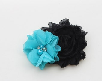 Turquoise hair bows, girls black hair clip, turquoise and black hair clip, black and blue hair bow, toddler girls hair bows