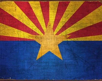 Arizona State Flag Metal Sign, Americana, Rustic Décor, HB7091