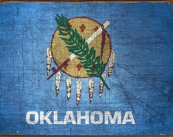 Oklahoma State Flag Metal Sign, Americana, Rustic Décor, HB7100