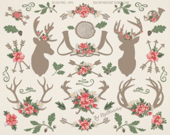 "Rustic Wedding Clip Art: ""Antlers & Flowers"" rustic clipart with wedding flowers, bridal elements with antlers, arrows and flowers"