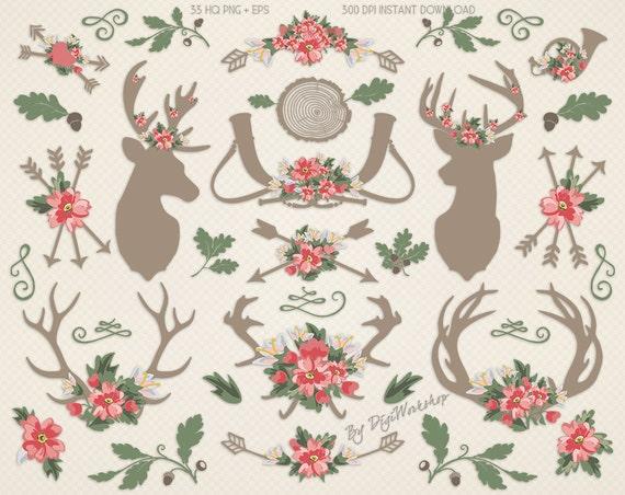 Rustic Wedding Clip Art: Antlers & Flowers rustic