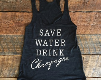 SAVE WATER Drink Champagne Charcoal / White Eco Tank