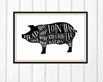 Pork Cuts Hand Drawn Digital Typography Print