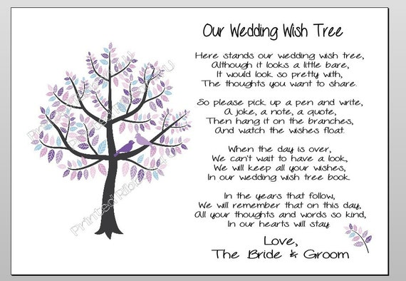 Items Similar To Printable Wedding Wish Tree Marriage Advice Poem Digital Download Guest Book Alternative Cute Purple Design On Etsy