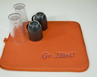 Fighting Illini Dish Drying Mat Embroidered University of Illinois Kitchen Dish Mat