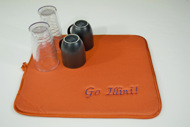 Fighting Illini Dish Drying Mat Embroidered University of