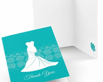 Set of 8 Thank You Cards - Wedding Dress Teal - Note Cards
