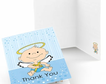 Set of 8 Thank You Cards - Angel Baby Boy Note Cards