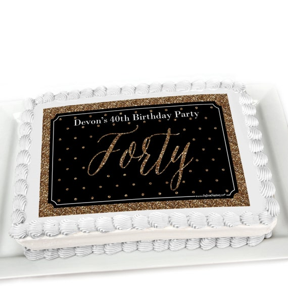 Th Birthday Cake Black Gold