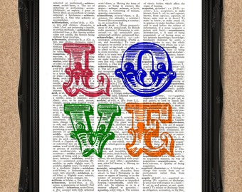 Love Print Personalised Dictionary Page Colourful Prints Typographic Art A108