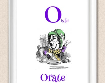 Alice in Wonderland Alphabet Art Nursery Print O is for Orate A095