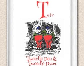 Alice in Wonderland Nursery Alphabet Print T is for Tweedle Dee and Tweedle Dum A095