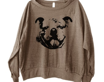 Bulldog Graphic Printed on Women's American Apparel long sleeve pullover