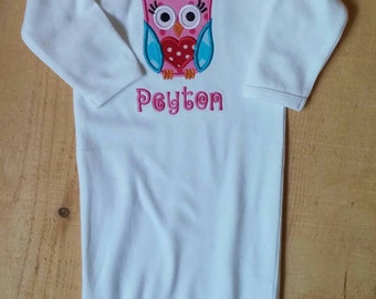Personalized White Newborn Infant Gown for Baby Girls with Appliqed Owl and Monogrammed Name