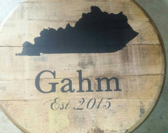 Full Bourbon Whiskey Barrel Head with Personalization