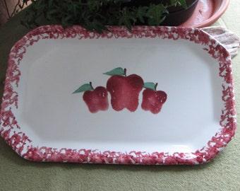 Handmade Apple Serving Platter Rectangle Apple Pattern Dinner Platter Fall Home Decor Appetizer Tray Red Apples Farmhouse Decor