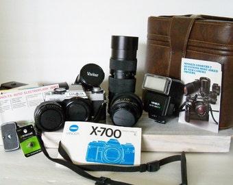 Vintage Minolta Camera -  XG-M 700 Camera - Faux Leather Case - Vivitar Lens - Kiron Teleconverter Lens - Macro Focusing Zoom - 1970