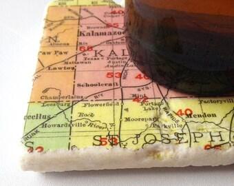 Colorful Kalamazoo Map Coaster
