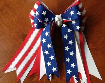 Patriotic Horse Show Bows/ Red, white & blue hair accessory