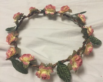 Flower crown (Pink/yellow)