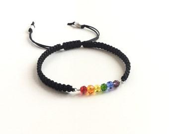 Gay Pride Rainbow Macrame Bracelet